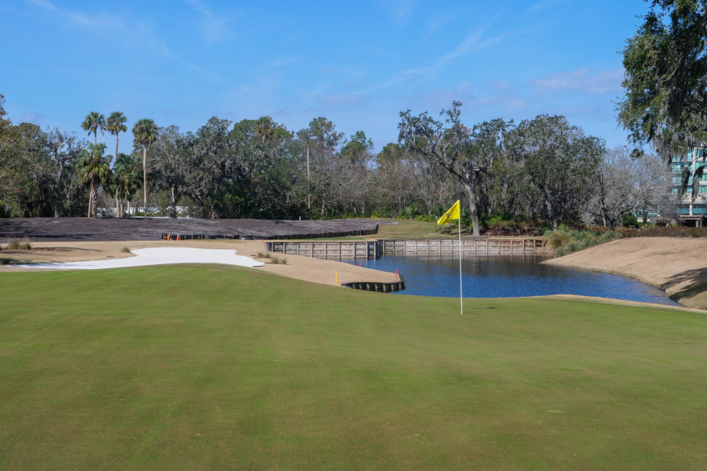 Looking back at the green on the par 3, 13th at TPC Sawgrass in Ponte Vedra Beach, Florida.
